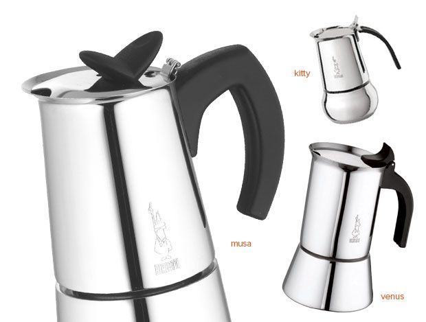Bialetti's Beautiful stainless steel coffee makers