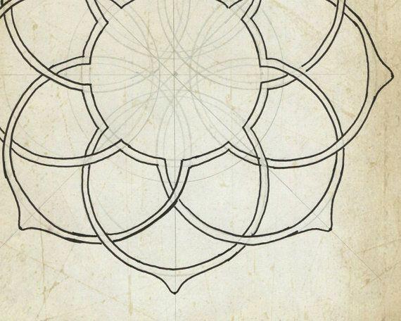 Art mural géométrique lotus art print vieux papier