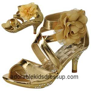 Little girls high heel shoes in sizes toddler 8 to children's size 4. Gold high heels with rhinestones and a flower on the side make for very elegant fashion in girls high heels.