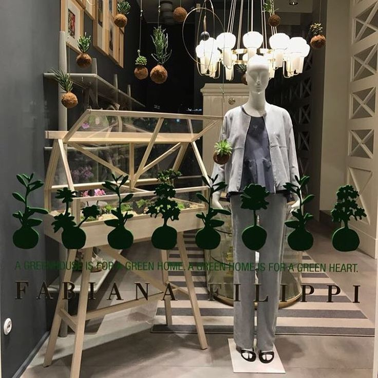 """FABIANA FILIPPI, Milan, Italy, """"A green house is for a green home..."""", Schlappi Mannequin by Bonaveri Italy, for Salone Del Mobile, pinned by Ton van der Veer"""