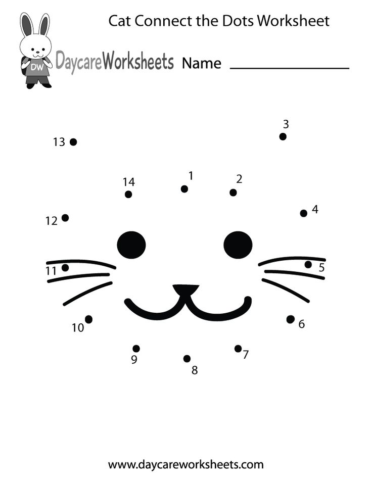 preschool cat connect the dots worksheet printable