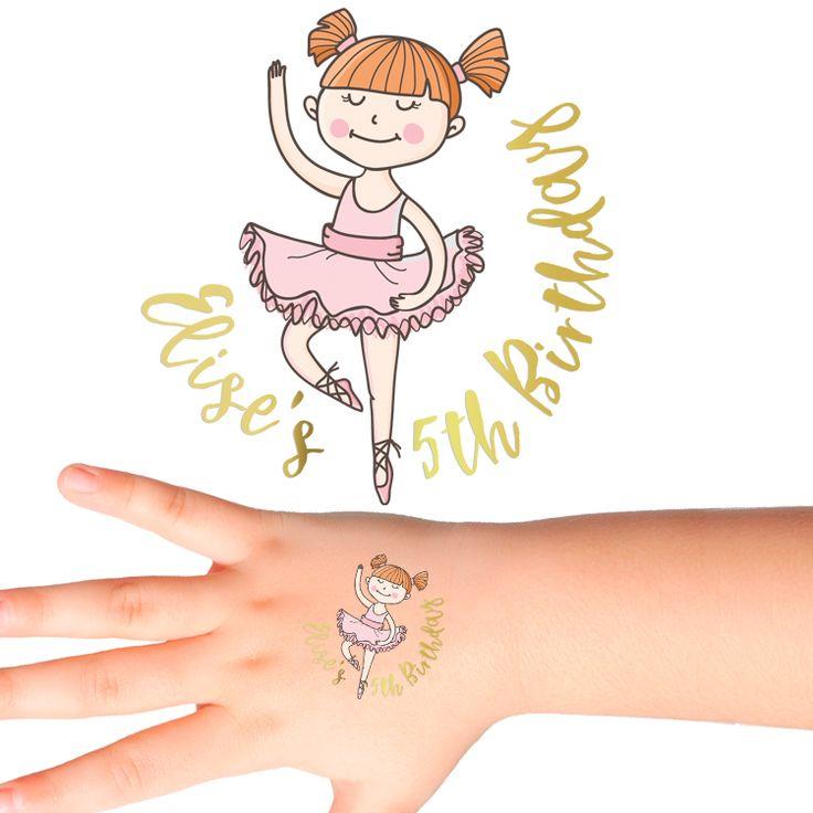 Ballerina Birthday Personalised Tattoos for Kids #474 (24 pack)
