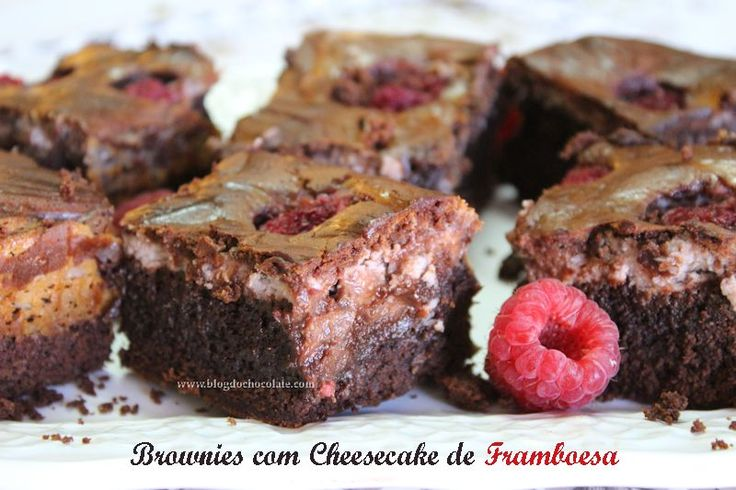 Brownies com Cheesecake de Framboesa / Brownies with Raspberries Cheesecake