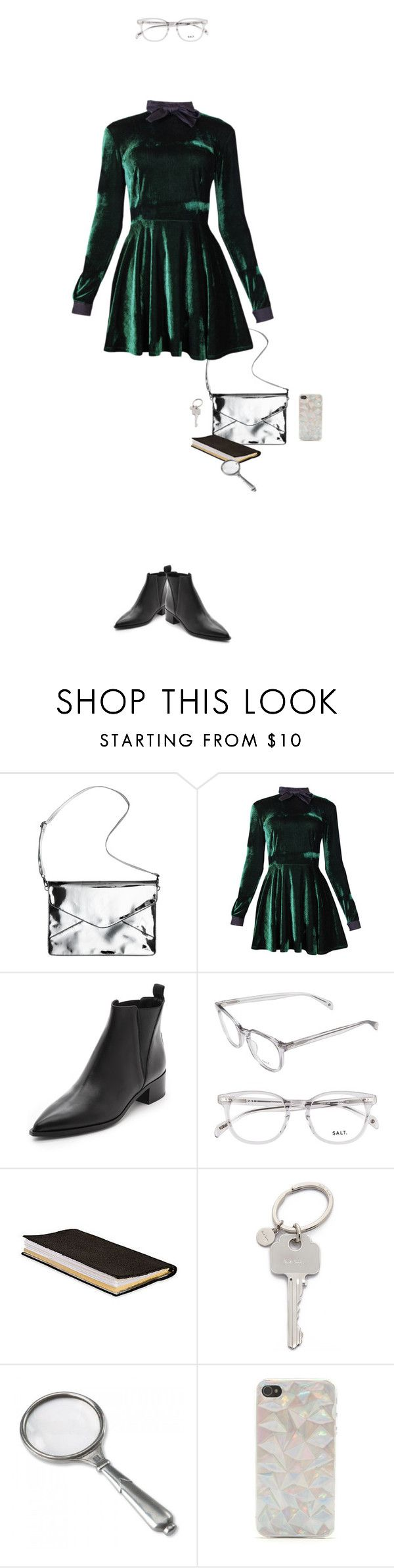 """cuore di tenebra"" by mrs-z ❤ liked on Polyvore featuring Monki, Valfré, Acne Studios, Zara, Paul Smith, Match, With Love From CA, velvet, glasses and ankleboots"