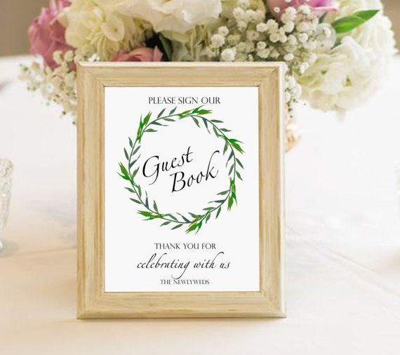 Guest book wedding printable sign laurel by PrintableMemoriesCo