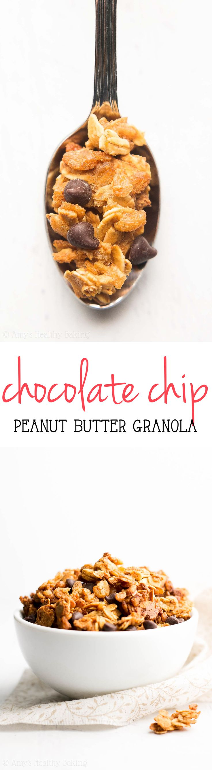 Healthy Chocolate Chip Peanut Butter Granola -- just 6 ingredients & lots of crunchy clusters! Like eating Reese's PB cups for breakfast with NO guilt!