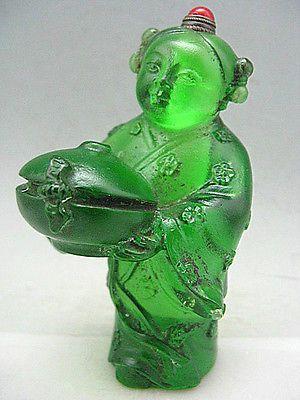 Rare Peking Glass Hand Carved Girl Snuff Bottle.