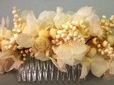 Adornos para el pelo y tocados – Media corona de hortensia beige y roja – hecho …