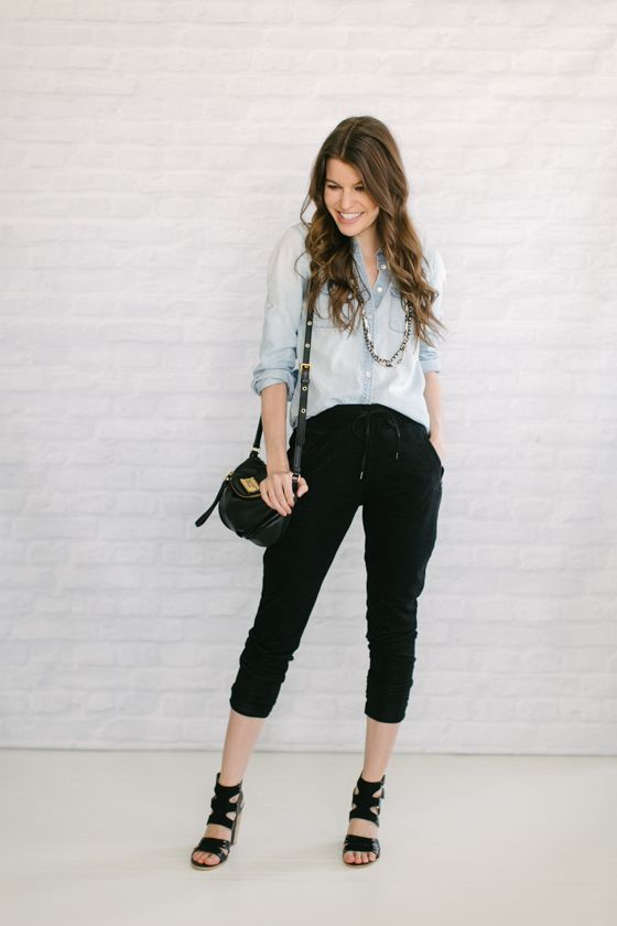 Chambray// Track Pants// Strappy Black Heels// + Tribal Beads and Black Bag+