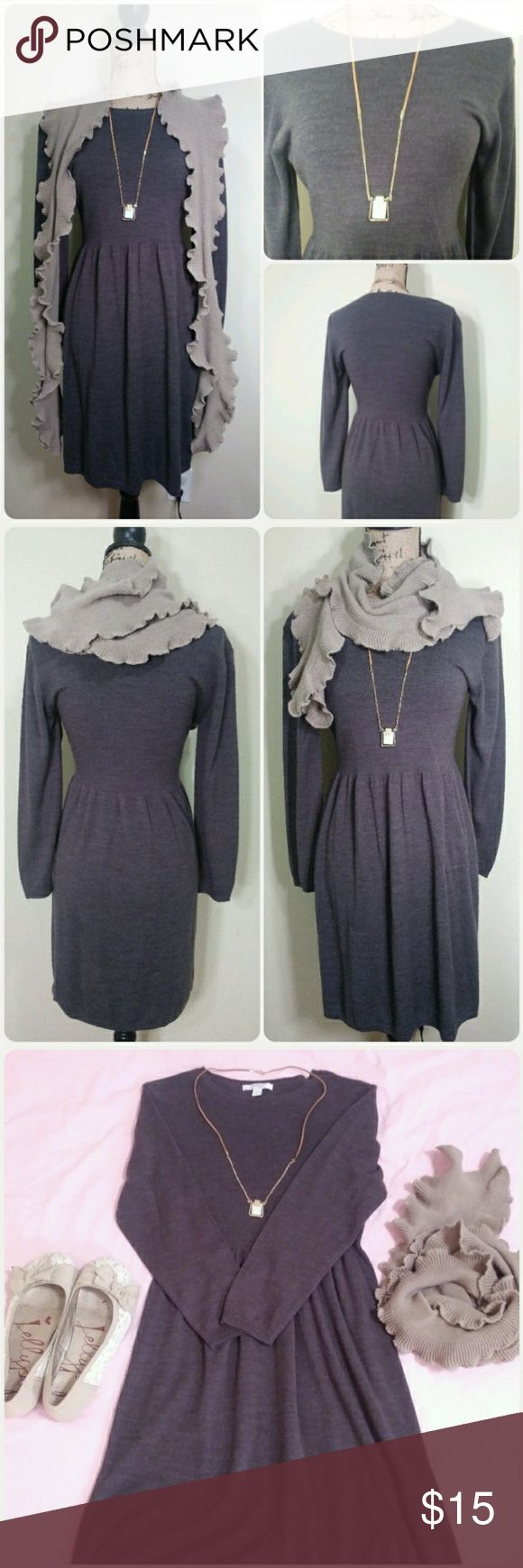 dressbarn PETITE - sweater dress - size PL Brand: dressbarn PETITE Size: PL (Petite Large) Color: Gray Condition: Perfectly Preloved (little to no pilling, tears, stains, etc) Description: This long sleeved sweater dress from dressbarn's PETITE line is a comfy, classy & versatile addition to a fall wardrobe. It could be dressed up or down in many different ways. Think chocolate cardi and boots -- black 3/4 cardi and tights - perfect for work, school church and pretty much any autumn outing…