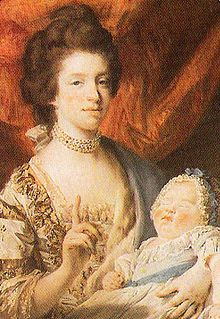 Charlotte of Mecklenburg-Strelitz, Queen Consort of George III of Great Britain, with her eldest daughter and fourth child, Charlotte, later known as Princess Royal.