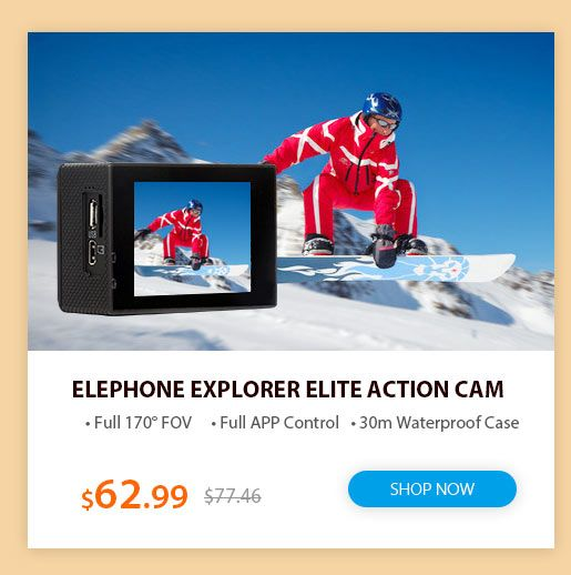 The MGCOOL and Elephone best action camera flash sale, including action cam, sport camera, 4k action camera, bike camera, sport cam and more make you have a best cheap action camera from Gearbest.com.
