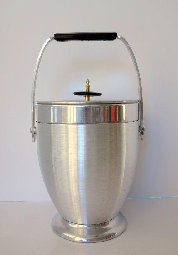 Atomic Aluminum Ice Bucket Kromex Vintage Barware