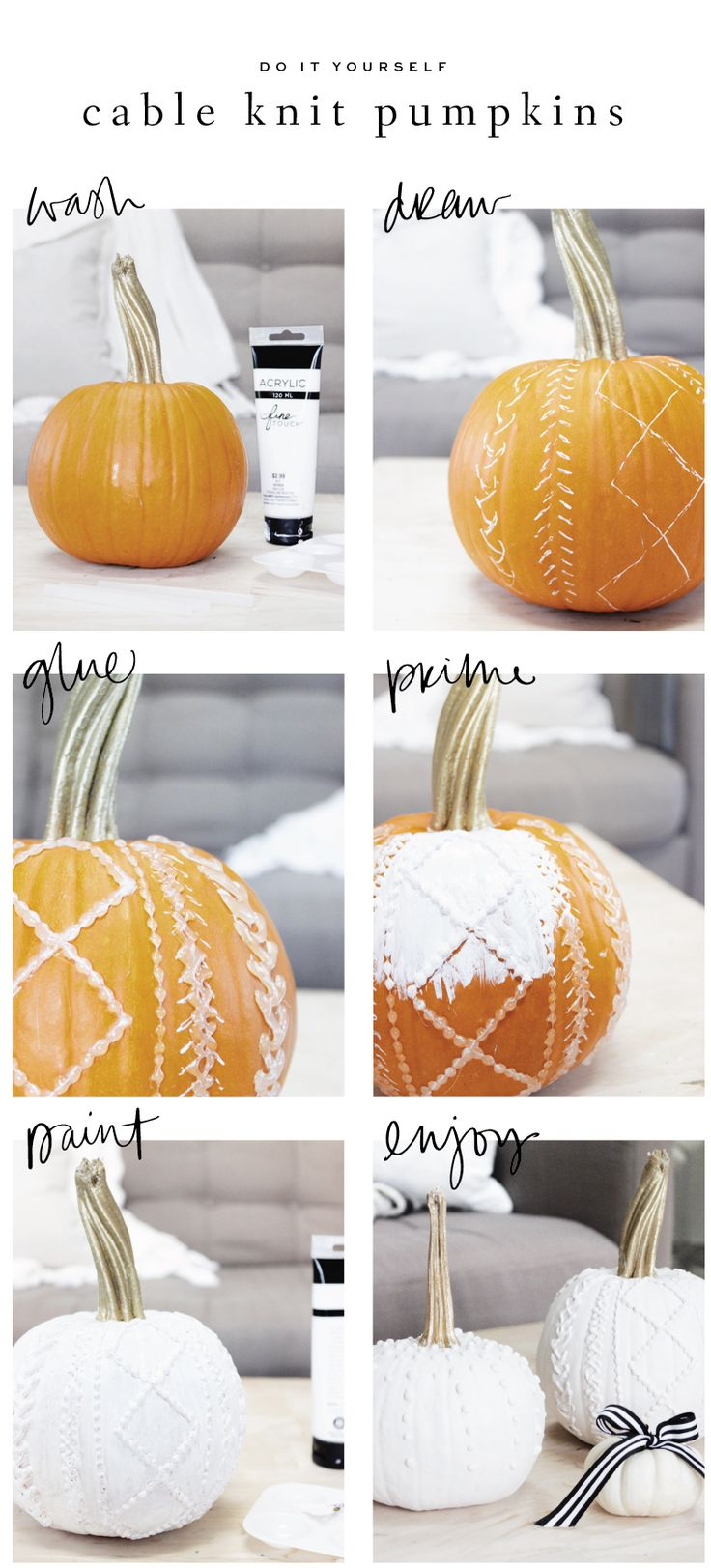 Black and White Cable Knit and Calligraphy Pumpkins : Saffron Avenue