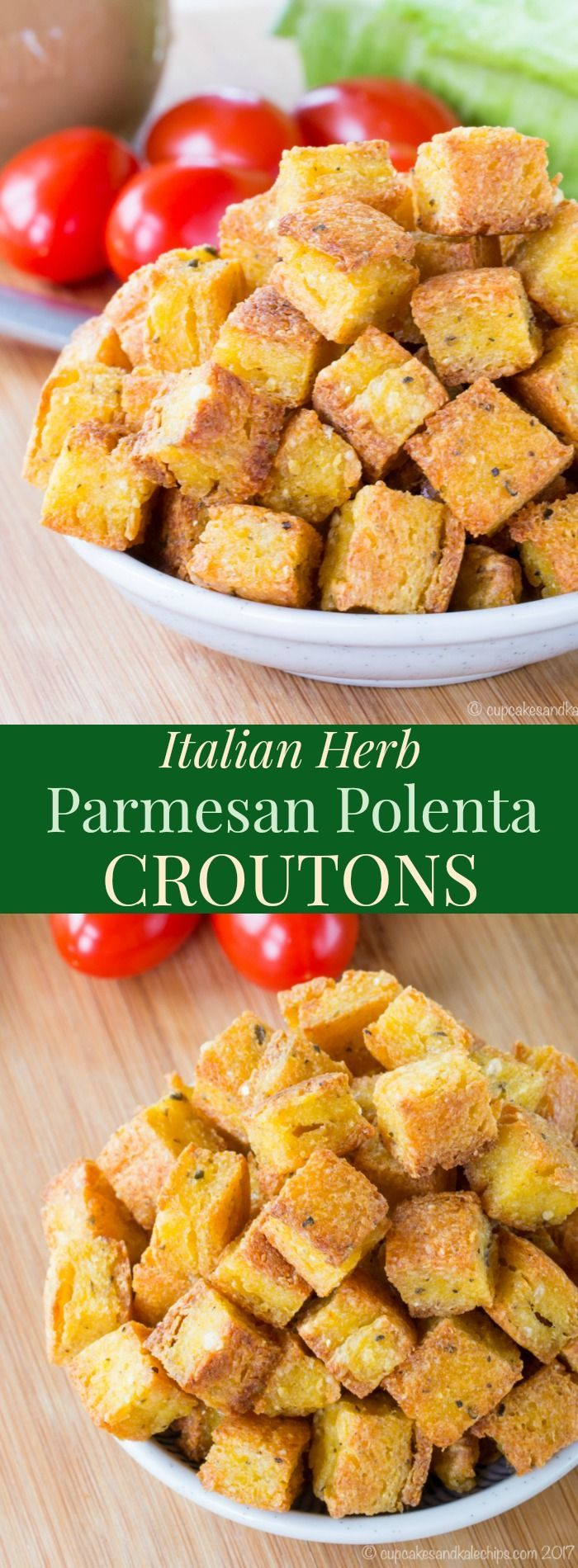 Italian Herb Parmesan Polenta Croutons - a crispy salad topping that's naturally gluten free