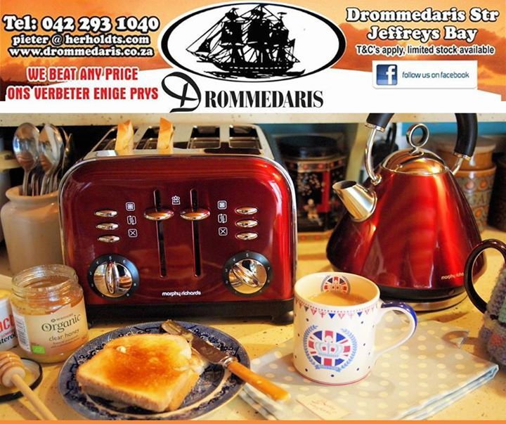 Put some colour in your kitchen with the Morphy Richards range of small appliances from Drommedaris in Jeffreys Bay. We guarantee to beat any written quote on any of our appliances and furniture. #lifestyle #homeimprovement #appliances