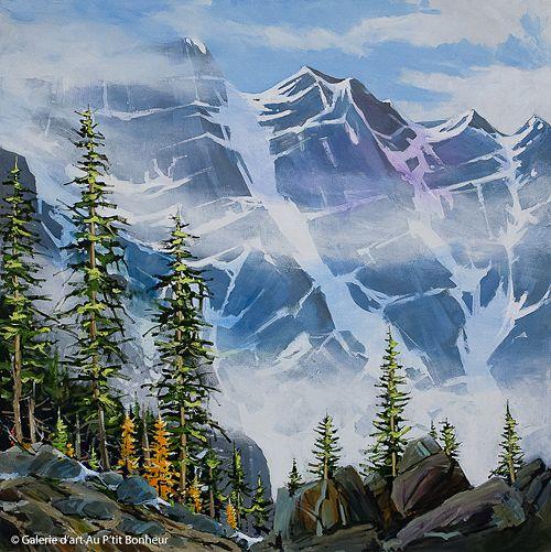 Allan Dunfield, 'Giants In The Mist', 36'' x 36'' | Galerie d'art - Au P'tit Bonheur - Art Gallery
