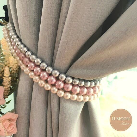 Pink And Grey Pink And Gold Curtain Tie Backs Shabby Chic Decor Tieback Blush Pink Decor Rose Gold Curtain Holdback Pink And Grey Curtains Pink Bedroom Decor Pink And Gold Curtains