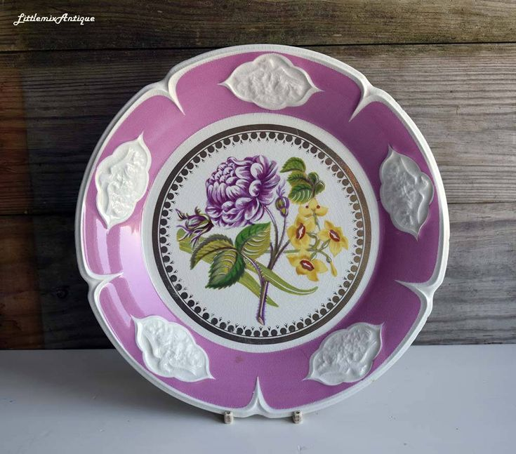 Antique Victorian Era  Handpainted Flower with White Birds Relief Detail Pink Trim and Gold Decor Wall Hanging Plate Retro Decorative Plate by LittlemixAntique on Etsy