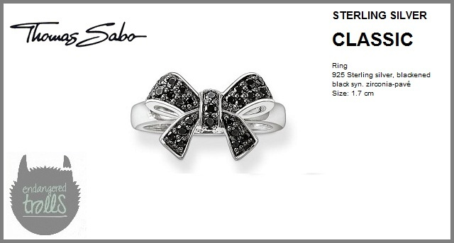 Thomas Sabo - Fall 2012 - Classic Collection - Pavé Bow Ring (Black)