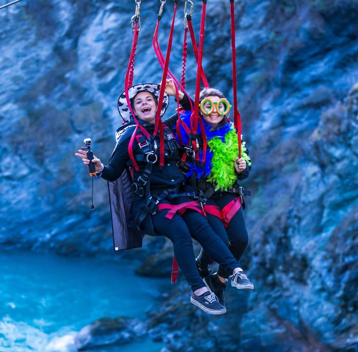 Zipriding at AJ Hackett Bungy NZ http://queenstownweddings.org/wedding-directory/group-activities
