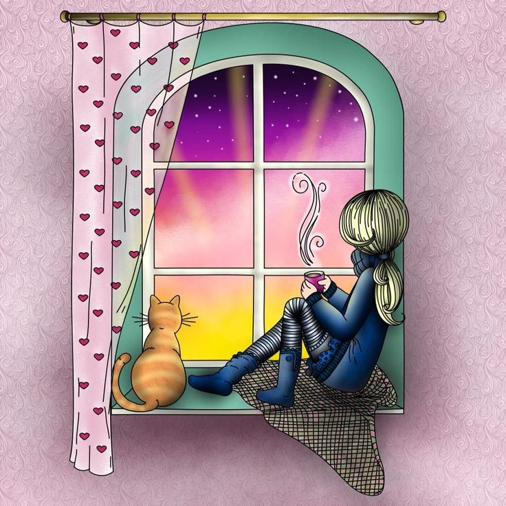 """Pigment on Twitter: """"So many lovey details on this page colored by Amy Mahony, the kitty's stripes, the sheer curtains, and the sunrise...wow! Show us your fin… https://t.co/T9WcfY2khh"""""""