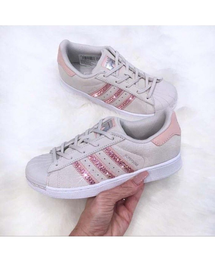 d2cfea627c97 Cheap Adidas Superstar Pearl Grey Trainers With Pink Swarovski Crystals