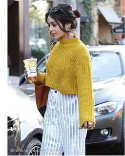 Celebrity Style | 海外セレブリティ最新スタイル情報 : 【ヴァネッサ・ハジェンズ】イエローニットがキュートなパンツスタイルでコーヒーショップへ!