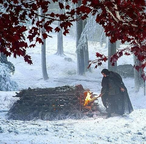 Jon Snow lights the funeral pyre for his love, Ygritte.