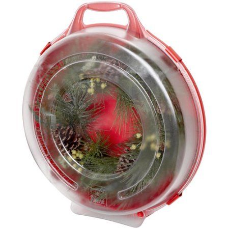 Homz Wreath Storage Box, Red, Set of 6