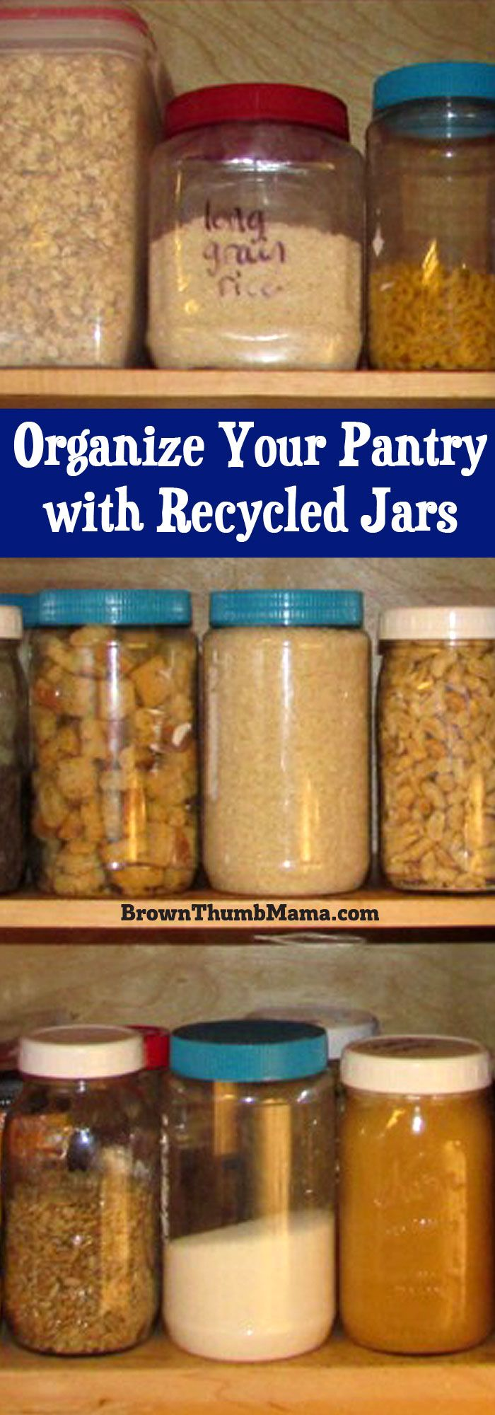 Organize your pantry and store bulk food purchases using containers you already have! Save money and the environment by using recycled jars for storage.