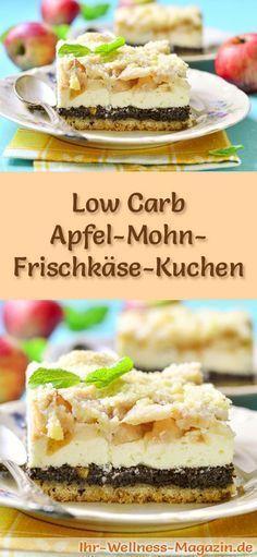 Rezept für Low Carb Apfel-Frischkäse-Kuchen - kohlenhydratarm, kalorienreduziert, ohne Zucker und Getreidemehl