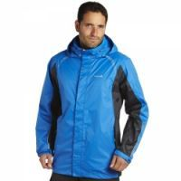 £29.99 -  Regatta Mens Polaris Jacket Oxford Blue  A packable Isolite waterproof and breathable rainshell with sporty stencil trim. Ideal for active outdoor use this summer. Waterproof and breathable Isolite lightweight polyester fabric. Taped seams. Mesh lined. Concealed hood with adjuster. Adjustable cuffs. Adjustable shockcord hem. Packaway - inner pocket coverts into a bag