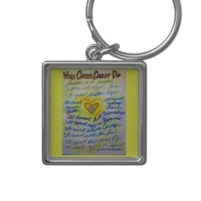 Blue and Gold Cancer Cannot Heart Keychain
