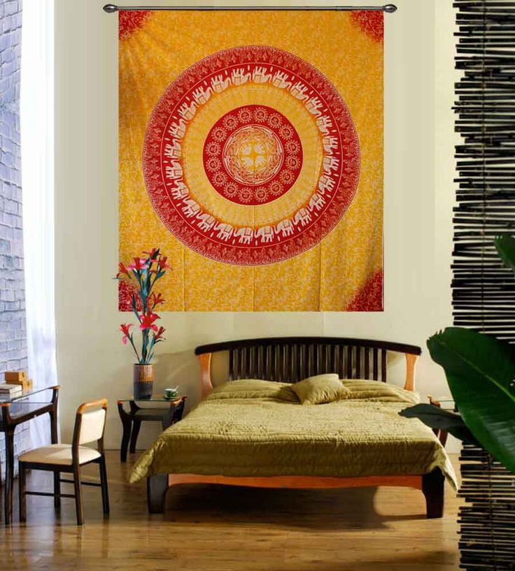 Yellow and white elephant print mandala tapestry. Perfect for topping a bed, couch, wall or your favorite chair.This Wall Tapestry can also be used as a: - Tapestry or a Wall Hanging, Bedspread, Bed Cover, Table Cloth, Curtain, Dorm Decor, Picnic Sheet Add an ethnic feel to your room with this cotton handmade wall hanging.