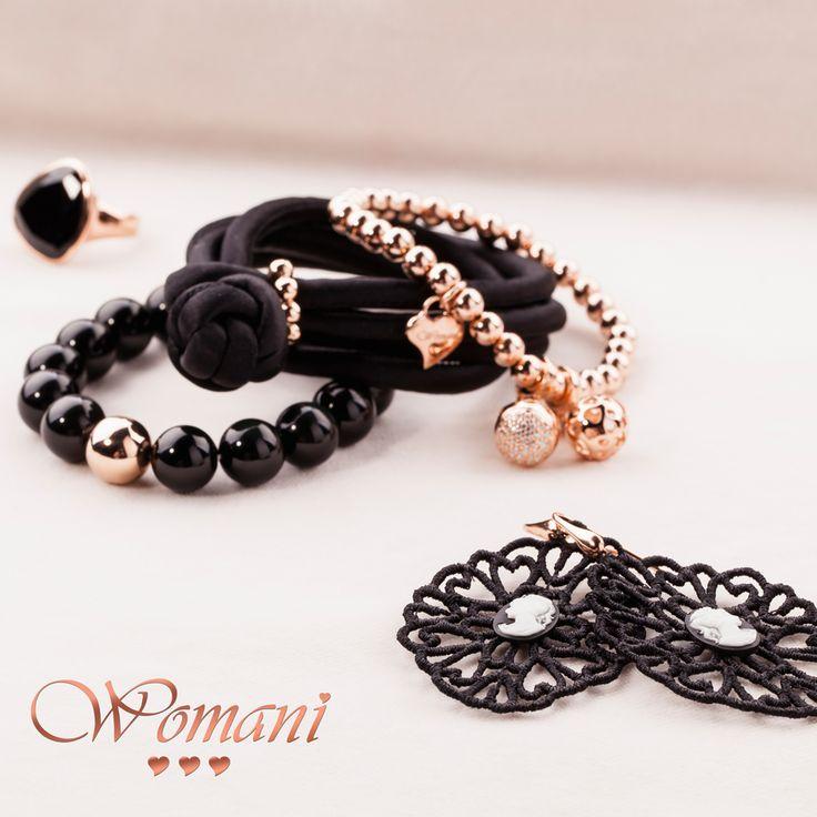 Womani armbanden en ringen zwart