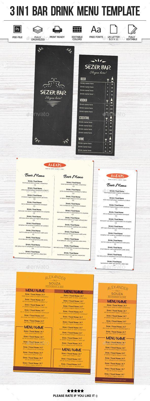 3 In 1 Bar Drink Menu Template - Food Menus Print Templates