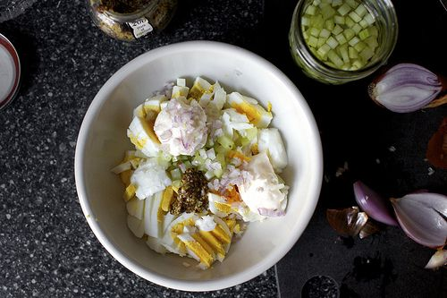 Egg salad recipe with pickled celery, coarse dijon, minced shallots.