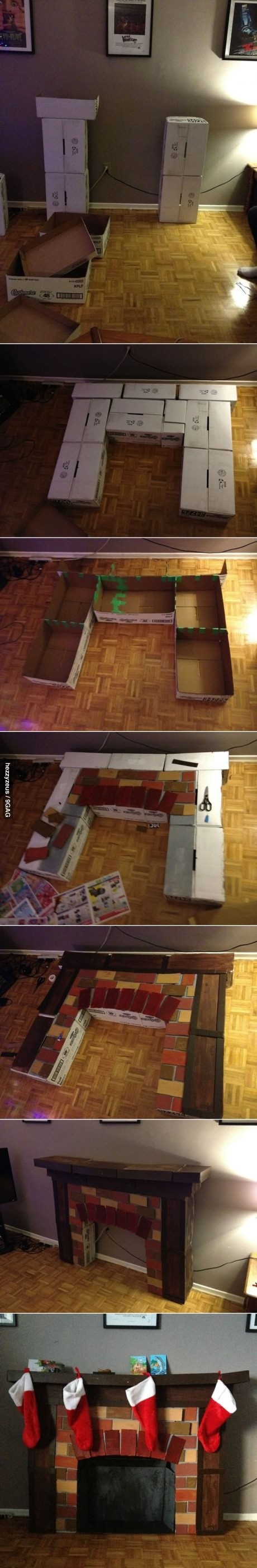 Ótima ideia de lareira para decoração, simples e pode usar a criatividade para fazer como desejar.