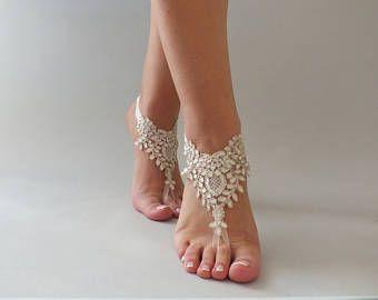 EXPRESS SHIPPING 5 pares, sandalias Descalzas regalos de Dama de honor, marfil oro encaje sandalias zapatos, tobilleras de playa, sandalias de playa boda descalzos,