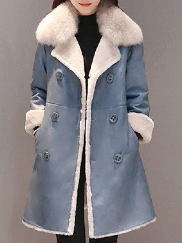 ファッション合わせやすいスーツの襟ファー無地ウールアウタームートンコート - レディースファッション激安通販|20代·30代·40代ファッション