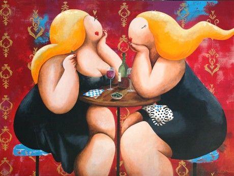 Een ander voorbeeld van het werk van Susan Ruiter die zich duidelijk heeft laten inspireren door de Colombiaan Botero. Dit is te zien door het kleurgebruik en het thema van het schilderij> dikke dames.