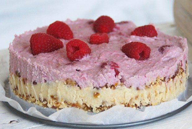 rauwe taart met frambozen (glutenvrij en zonder geraffineerde suiker)