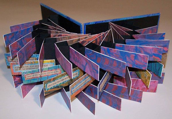 Things I Know for Sure by Cody Calhoun, Springboro, OH, USA. This double flag book structure by Cody Calhoun is made of various handmade paste papers and computer generated text. 17 x 9 x 3 cm (closed), 17 x 9 x 45 cm (open). The basic flag book structure was originally learned from samples by Hedi Kyle and the technique was expanded and refined with Karen Hamner at a CBAS workshop in Cincinnati.