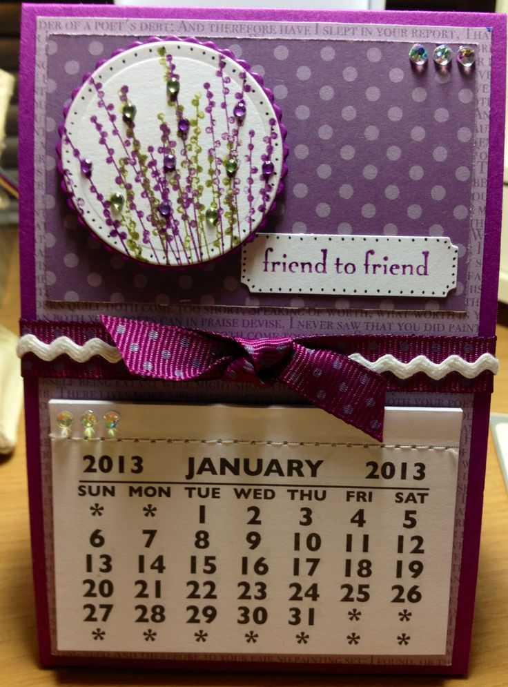 Desktop calendar using Stampin up stamps and papers.