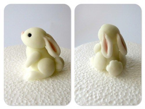 Here's an adorable cake decorating tutorial(English translation) with a super cute bunny sculpt that would totally work for polymer clay. Use similar coloured and shaped pieces of clay to mak…