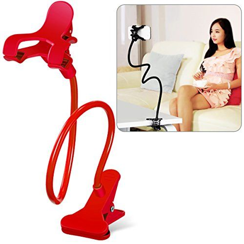 Cell Phone Holder, Breett Universal Cell Phone Clip Holder Lazy Bracket Flexible Long Arms for iPhone, GPS Devices, Fit On Desktop Bed Mobile Stand for Bedroom, Office, Bathroom, Kitchen