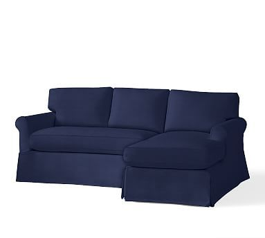 York Roll Arm Slipcovered Left Arm Sofa With Chaise Sectional, Down Blend  Wrapped Cushions,