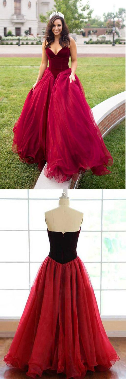 Elegant Strapless A-line Long Burgundy Tulle Prom Dress A Line Evening Dress #burgundy #ballgown #tulle #prom #elegant #okdresses