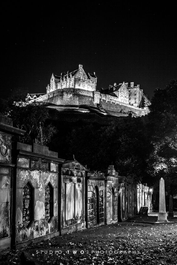 Castle from St Cuthberts at Night (BW)